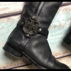 Tory Burch Black Leather Amanda Riding Boots 7.5